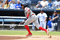 Lakewood BlueClaws Malvin Matos (33) runs to first base during a game against the Asheville Tourists at McCormick Field on August 4, 2019 in Asheville, North Carolina. The Tourists defeated the BlueClaws 13-6. (Tony Farlow/Four Seam Images)