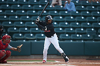 Yoelqui Cespedes (15) of the Winston-Salem Warthogs at bat against the Jersey Shore BlueClaws at Truist Stadium on July 21, 2021 in Winston-Salem, North Carolina. (Brian Westerholt/Four Seam Images)