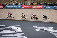 Wout van Aert (BEL/Jumbo-Visma), Jonas Rutsch (GER/EF Educution - Nippo), Guillaume Boivin (CAN/Israël Start-Up Nation), Yves Lampaert (BEL/Deceuninck-Quick Step) in the famous Roubaix velodrome. <br /> <br /> 118th Paris-Roubaix 2021 (1.UWT)<br /> One day race from Compiègne to Roubaix (FRA) (257.7km)<br /> <br /> ©kramon