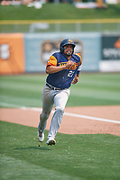 Francisco Peña (23) of the Las Vegas Aviators hustles towards home plate against the at Smith's Ballpark on July 25, 2021 in Salt Lake City, Utah. The Aviators defeated the Bees 10-6. (Stephen Smith/Four Seam Images)