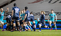 8th January 2021; AJ Bell Stadium, Salford, Lancashire, England; English Premiership Rugby, Sale Sharks versus Worcester Warriors;  Faf De Klerk of Sale Sharks clears his line with a high kick