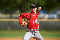 Canada Junior National Team pitcher Alexis Gravel (16) during an exhibition game against the Toronto Blue Jays on March 8, 2020 at Baseball City in St. Petersburg, Florida.  (Mike Janes/Four Seam Images)