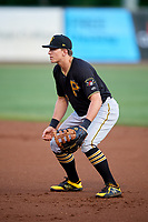 Bristol Pirates first baseman Mason Martin (3) during the second game of a doubleheader against the Bluefield Blue Jays on July 25, 2018 at Bowen Field in Bluefield, Virginia.  Bristol defeated Bluefield 5-2.  (Mike Janes/Four Seam Images)