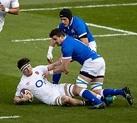 13th February 2021; Twickenham, London, England; International Rugby, Six Nations, England versus Italy; Tom Curry of England is tackled