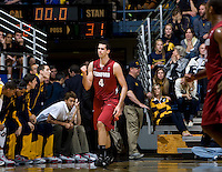 STANFORD, CA - January 29th, 2012: Stefan Nastic of Stanford celebrates after scoring three points before the buzzer during a basketball game against California at Haas Pavilion in Berkeley, California.   California won 69-59 against Stanford.