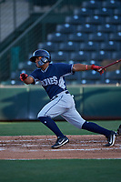 AZL Padres 1 Bryan Torres (12) at bat during an Arizona League game against the AZL Angels on July 16, 2019 at Tempe Diablo Stadium in Tempe, Arizona. The AZL Padres 1 defeated the AZL Angels 3-1. (Zachary Lucy/Four Seam Images)