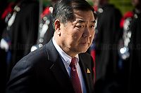 """He Lifeng (Chairman of China's National Development and Reform Commission, NDRC).<br /> <br /> Rome, 23/03/2019. The President of the People's Republic of China (General Secretary of the Communist Party of China, and Chairman of the Central Military Commission), Xi Jinping, meets the Italian Prime Minister Giuseppe Conte at Villa Madama during the second day of a three-day State visit to Italy. After the arrival of Xi Jinping greeted with the full honors at the splendid Renaissance Villa designed by Raffaello Sanzio, the Chinese delegation and the Italian delegation led by the Luigi Di Maio (Deputy Prime Minister, Minister of Economic development, Labour and Social Policies, and leader of the Five Star Movement) signed a memorandum of understanding - 29 separate protocols - supporting the """"Belt and Road"""" initiative (part of the """"New Silk Road Project"""") as the first of the Seven major economies in the world. Luigi Di Maio stated that """"the value of individual deals signed amounts to about 2,5 billion euros, with the potential to grow to about 20 billion euros""""."""