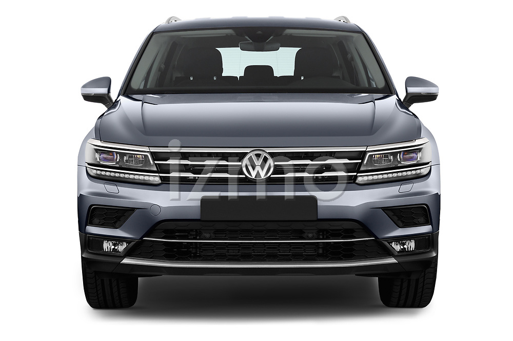 Car photography straight front view of a 2018 Volkswagen Tiguan Allspace Highline 5 Door SUV
