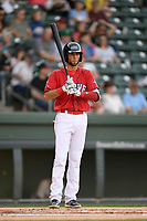 Red Sox prospect C.J. Chatham (10) of the Greenville Drive at bat bats in a game against the Rome Braves on Friday, April 13, 2018, at Fluor Field at the West End in Greenville, South Carolina. Rome won, 10-6. (Tom Priddy/Four Seam Images)