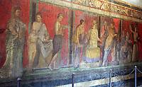 Affreschi nel Triclinio della Villa dei Misteri, nel sito archeologico di Pompei, nei pressi di Napoli.<br /> Frescoes in the Villa of the Mysteries' Triclinium, at Pompeii's archeological roman site, near Naples.<br /> UPDATE IMAGES PRESS/Riccardo De Luca