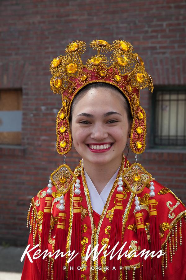 Close-up Portrait, Chinese Girls Drill Team, Dragon Fest 2015, Chinatown, Seattle, Washington, USA