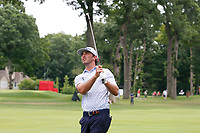 3rd July 2021, Detroit, MI, USA;   Max Homa hits his second shot on the first hole on July 3, 2021 during the Rocket Mortgage Classic at the Detroit Golf Club in Detroit, Michigan.