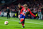 Antoine Griezmann (R) of Atletico de Madrid fights for the ball with goalkeeper Marinato Guilherme of FC Lokomotiv Moscow during the UEFA Europa League 2017-18 Round of 16 (1st leg) match between Atletico de Madrid and FC Lokomotiv Moscow at Wanda Metropolitano  on March 08 2018 in Madrid, Spain. Photo by Diego Souto / Power Sport Images