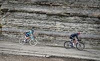 Maglia Rosa / Pink Jersey / GC Leader Egan Bernal (COL/Ineos Grenadiers) descending the Passo Della Calla<br /> <br /> 104th Giro d'Italia 2021 (2.UWT)<br /> Stage 12 from Siena to Bagno di Romagna (212km)<br /> <br /> ©kramon