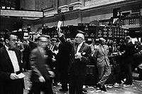 New-York (NY) USA - 1963 Sep. 26. - stock brokers working at the Stock Exchange.