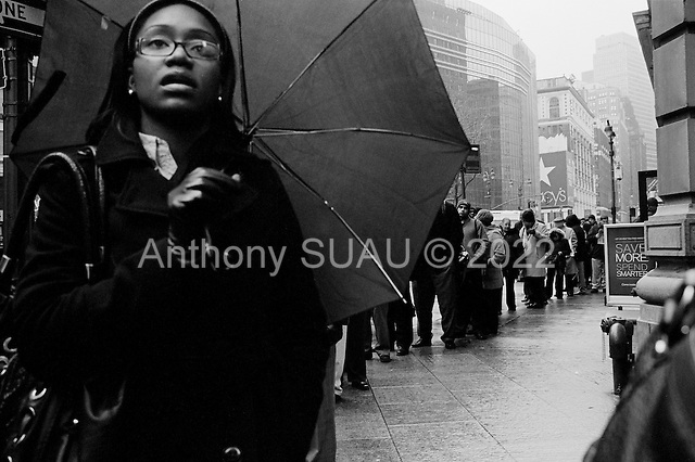 New York, New York<br /> February 24, 2010<br /> <br /> People line up to enter the NYCHires Job Fair at the Radisson Martinique On Broadway Hotel to meet professionals from more than 30 employers.<br /> <br /> The United States shed 36,000 jobs in February and the unemployment rate held at 9.7 percent.<br /> <br /> The Senate passed a modest jobs creation bill to lay the groundwork for a larger package that would advance Democrats goal of bringing down the stubbornly high U.S. unemployment rate.