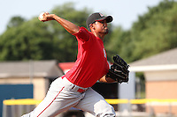 Batavia Muckdogs pitcher Ricky Martinez #33 delivers a pitch during a simulated game before the teams pre-season pep rally at Dwyer Stadium on June 15, 2011 in Batavia, New York.  Photo By Mike Janes/Four Seam Images