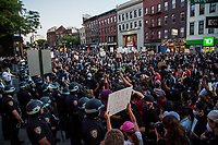 NEW YORK, NEW YORK - MAY 31: Protesters confront the police on May 31, 2020 in New York. Protests spread across the country in at least 30 cities in the United States. USA For the death of unarmed black man George Floyd at the hands of a police officer, this is the latest death in a series of police deaths of black Americans (Photo by Pablo Monsalve / VIEWpress via Getty Images)
