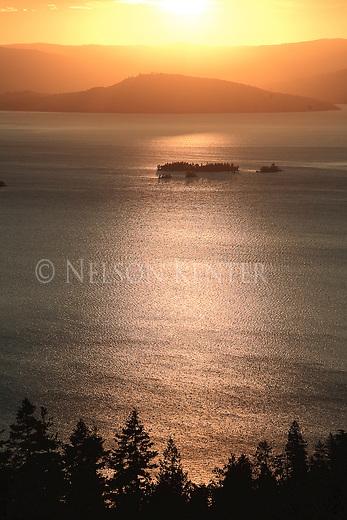 Sunset over Flathead Lake in western Montana