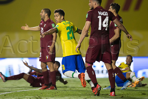 13th November 2020; Morumbi Stadium, Sao Paulo, Sao Paulo, Brazil; World Cup 2022 qualifiers; Brazil versus Venezuela;  Roberto Firmino of Brazil celebrates his goal in the 67th minute for 1-0