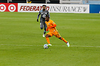 ST PAUL, MN - OCTOBER 18: Darwin Quintero #23 of Houston Dynamo kicks the ball during a game between Houston Dynamo and Minnesota United FC at Allianz Field on October 18, 2020 in St Paul, Minnesota.