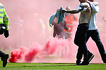 Nottingham Forest 3 Ipswich Town 0, 07/05/2017. City Ground, Championship. Forest fans setting off a flare on the pitch at full time, Nottingham Forest v Ipswich Town at the City Ground Nottingham in the SkyBet Championship. Photo by Paul Thompson.