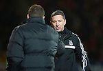 St Johnstone v Aberdeen.....07.12.13    SPFL<br /> Derek McInnes hakes hands with Tommy Wright at full time<br /> Picture by Graeme Hart.<br /> Copyright Perthshire Picture Agency<br /> Tel: 01738 623350  Mobile: 07990 594431