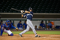 AZL Padres right fielder Mason House (40) follows through on his swing against the AZL Cubs on August 28, 2017 at Sloan Park in Mesa, Arizona. AZL Cubs defeated the AZL Padres 2 9-4. (Zachary Lucy/Four Seam Images)