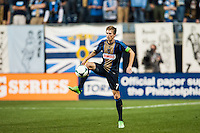 Brian Carroll (7) of the Philadelphia Union. The Los Angeles Galaxy defeated the Philadelphia Union 4-1 during a Major League Soccer (MLS) match at PPL Park in Chester, PA, on May 15, 2013.