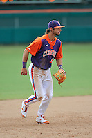 Junior infielder Weston Wilson (8) of the Clemson Tigers in a fall practice intra-squad Orange-Purple scrimmage on Saturday, September 26, 2015, at Doug Kingsmore Stadium in Clemson, South Carolina. (Tom Priddy/Four Seam Images)