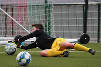 Hazel Engelen goalkeeper of Woluwe catches the ball during the warm up before a female soccer game between Oud Heverlee Leuven and Femina White Star Woluwe  on the 5 th matchday of the 2020 - 2021 season of Belgian Womens Super League , Sunday 18 th of October 2020  in Heverlee , Belgium . PHOTO SPORTPIX.BE   SPP   SEVIL OKTEM