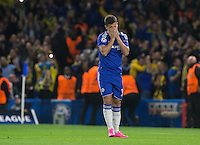 Eden Hazard of Chelsea reaction as he misses a penalty during the UEFA Champions League match between Chelsea and Maccabi Tel Aviv at Stamford Bridge, London, England on 16 September 2015. Photo by Andy Rowland.