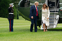 United States President Donald J. Trump and first lady Melania Trump return to the White House in Washington, DC following their participation in a Memorial Day Ceremony at Fort McHenry National Monument and Historic Shrine in Baltimore, Maryland on Monday, May 25, 2020.<br /> Credit: Chris Kleponis / Pool via CNP/AdMedia
