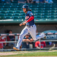 31 May 2018: New Hampshire Fisher Cats infielder Bo Bichette runs home in the 8th inning against the Portland Sea Dogs at Northeast Delta Dental Stadium in Manchester, NH. The Sea Dogs defeated the Fisher Cats 12-9 in extra innings. Mandatory Credit: Ed Wolfstein Photo *** RAW (NEF) Image File Available ***