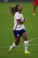 ORLANDO CITY, FL - FEBRUARY 18: Catarina Macario #11 reacts to her missed shot during a game between Canada and USWNT at Exploria stadium on February 18, 2021 in Orlando City, Florida.