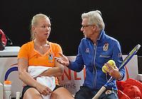 Februari 04, 2015, Apeldoorn, Omnisport, Fed Cup, Netherlands-Slovakia, Training Dutch team, Kiki Bertens with coach Martin Bohm<br /> Photo: Tennisimages/Henk Koster
