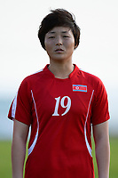 20190227 - LARNACA , CYPRUS : Korean Jon So Yon pictured during a women's soccer game between Korea DPR and Czech Republic , on Wednesday 27 February 2019 at the GSZ Stadium in Larnaca , Cyprus . This is the first game in group A for both teams during the Cyprus Womens Cup 2019 , a prestigious women soccer tournament as a preparation on the Uefa Women's Euro 2021 qualification duels and the Fifa World Cup France 2019. PHOTO SPORTPIX.BE | STIJN AUDOOREN