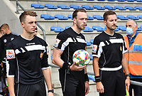 referees pictured with Tom Stevens (middle) , Bryan Bijnens right) and Michele Seeldraeyers during a friendly soccer game between the national teams Under19 Youth teams of Belgium and Germany on tuesday 8 th of September 2020  in Genk , Belgium . PHOTO SPORTPIX.BE | SPP | DAVID CATRY