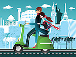 Couple riding a scooter with some international tourist attractions in the background
