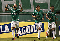PALMIRA - COLOMBIA, 19-10-2020: Angelo Rodriguez del Cali celebra después de anotar el primer gol de su equipo durante partido entre Deportivo Cali e Independiente Santa Fe por la fecha 15 de la Liga BetPlay DIMAYOR I 2020 jugado en el estadio Deportivo Cali de la ciudad de Palmira. / Angelo Rodriguez of Cali celebrates after scoring the first goal of his team during match between Deportivo Cali and Independiente Santa Fe for the date 15 as part of BetPlay DIMAYOR League I 2020 played at Deportivo Cali stadium in Palmira city.  Photo: VizzorImage / Gabriel Aponte / Staff