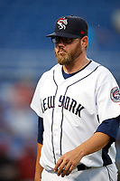 Binghamton Rumble Ponies relief pitcher Cory Burns (30) walks back to the dugout during a game against the Altoona Curve on May 17, 2017 at NYSEG Stadium in Binghamton, New York.  Altoona defeated Binghamton 8-6.  (Mike Janes/Four Seam Images)