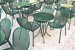 Empty cafe tables pattern design nobody sitting at restaurant tables outside.
