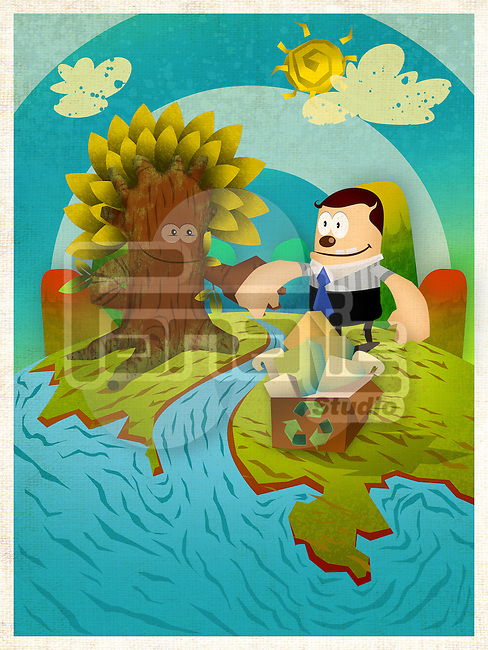 Illustrative representation conveying the message Save Trees by using recycled paper