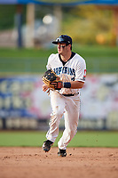 Lake County Captains second baseman Tyler Friis (7) during the first game of a doubleheader against the South Bend Cubs on May 16, 2018 at Classic Park in Eastlake, Ohio.  South Bend defeated Lake County 6-4 in twelve innings.  (Mike Janes/Four Seam Images)