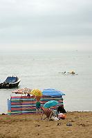 British seaside on a raiy day: Broadstairs, Kent, UK