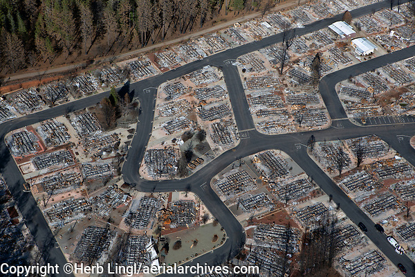 aerial photograph of the 2018 Camp Fire, Paradise, Butte County, California