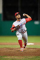 Williamsport Crosscutters relief pitcher Jose Jimenez (50) delivers a pitch during a game against the Batavia Muckdogs on June 21, 2018 at Dwyer Stadium in Batavia, New York.  Batavia defeated Williamsport 6-5.  (Mike Janes/Four Seam Images)