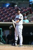 Eric Aguilera (24) of the Inland Empire 66ers bats during a game against the Lake Elsinore Storm at San Manuel Stadium on May 27, 2015 in San Bernardino, California. Lake Elsinore defeated Inland Empire, 12-9. (Larry Goren/Four Seam Images)