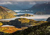 Morning views of Hope Arm of Lake Manapouri, Fiordland National Park, Southland, UNESCO World Heritage Area, New Zealand, NZ