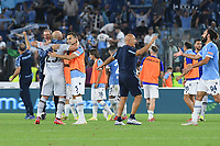 26th September 2021;  Stadio Olimpico, Rome, Italy; Italian Serie A football, SS Lazio versus AS Roma; Lazio player's celebrate the victory at the end of the match by a score of 3-2